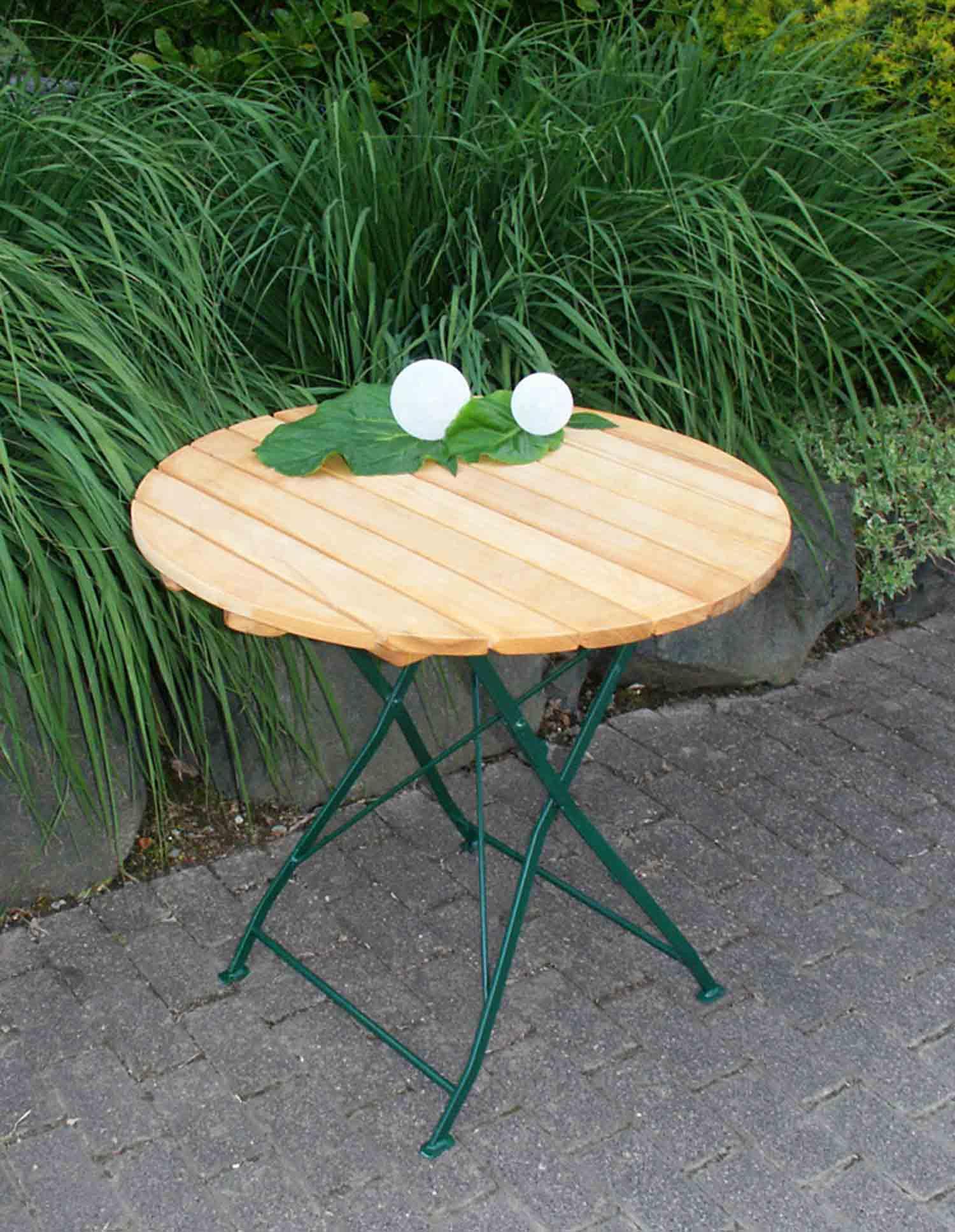 Lifestyle4Living Klapptisch mit dunkelgrünem Flachstahlgestell und Belattung aus Robinienholz, Maße: B/H/T ca. 77/72/77 cm