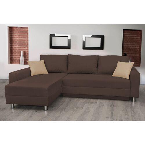 Lifestyle4Living Ecksofa in dunkelbraun mit Schlaffunktion, Bettkasten und 2 Zierkissen, Schenkelmaß: 235 x 155 cm