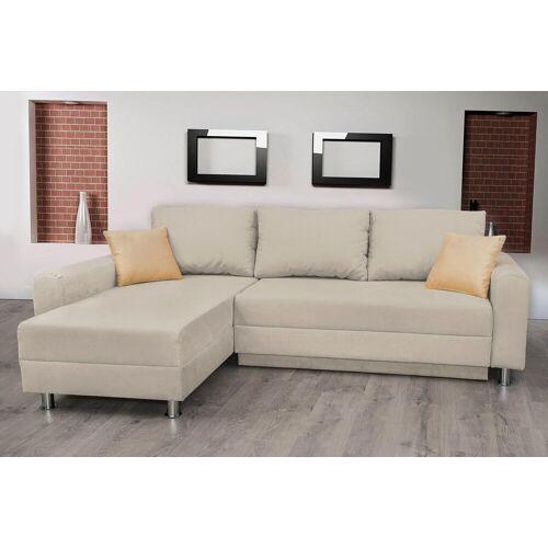 Lifestyle4Living Ecksofa in beige, Schlaffunktion, Bettkasten und 2 Zierkissen, Schenkelmaß: 235 x 155 cm