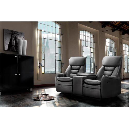 Lifestyle4Living 2-er Cinema Sessel mit schwarzem Kunstleder bezogen, Relaxfunktion  Aufbewahrungsfach u 2 Getränkehalter, Maße: B/H/T ca. 164/105/90 cm