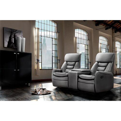 Lifestyle4Living 2-er Cinema Sessel mit grauem Kunstleder bezogen, Relaxfunktion  Aufbewahrungsfach u 2 Getränkehalter, Maße: B/H/T ca. 164/105/90 cm