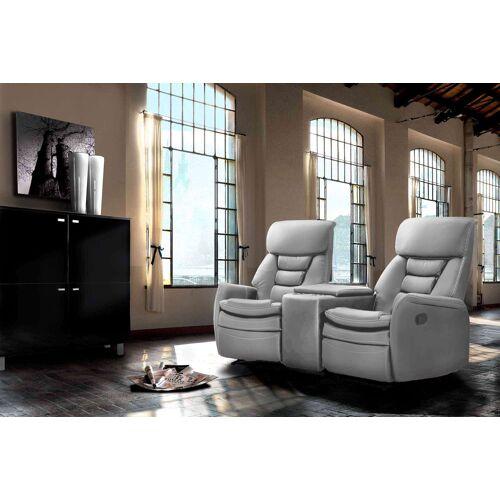 Lifestyle4Living Cinema Sessel 2er mit hellgrauem Kunstleder bezogen, Relaxfunktion  Aufbewahrungsfach u 2 Getränkehalter, Maße: B/H/T ca. 164/105/90 cm