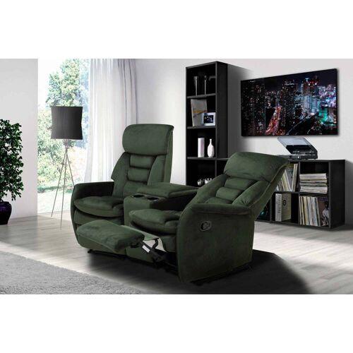 Lifestyle4Living 2er Cinema Sessel mit grünem Samt bezogen, Relaxfunktion, Aufbewahrungsfach und 2 Getränkehalter, Maße: B/H/T ca. 164/105/90 cm