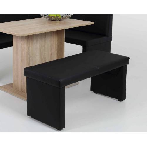 Lifestyle4Living Bank aus Kunstleder in schwarz, Maße: B/H/T ca. 110/48/45 cm