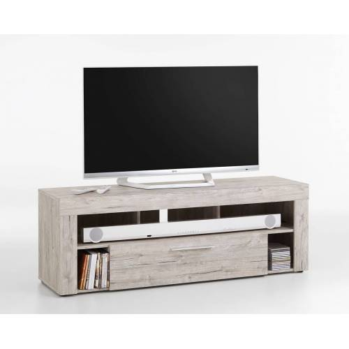 Lifestyle4Living TV-Lowboard TV-Board Multimedia Lowboard in Sandeiche-Nachbildung mit 5 Fächern und 1 Schubkasten, Maße: B/H/T ca. 150/53/41,5 cm