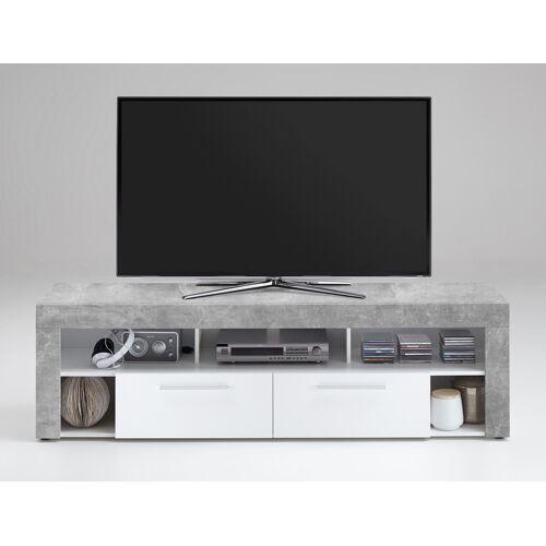 Lifestyle4Living TV-Lowboard TV-Board Multimedia Lowboard in Beton-Dekor und Abs. in weiß mit 5 Fächern und 2 Schubkästen, Maße: B/H/T ca. 180/53/41,5 cm