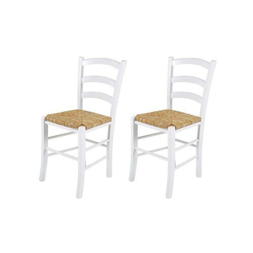 Lifestyle4Living 2 Esszimmerstühle aus massiver Buche in weiß mit einer Sitzfläche aus Binsengeflecht, Maße: B/H/T ca. 43/85/47 cm
