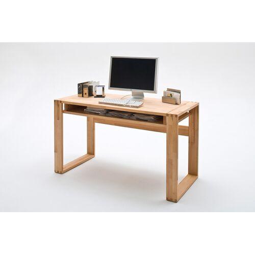 Lifestyle4Living Schreibtisch in Kernbuche massiv, geölt, mit 1 Fach und Fingerzinken, Maße: B/H/T ca. 135/76/60 cm