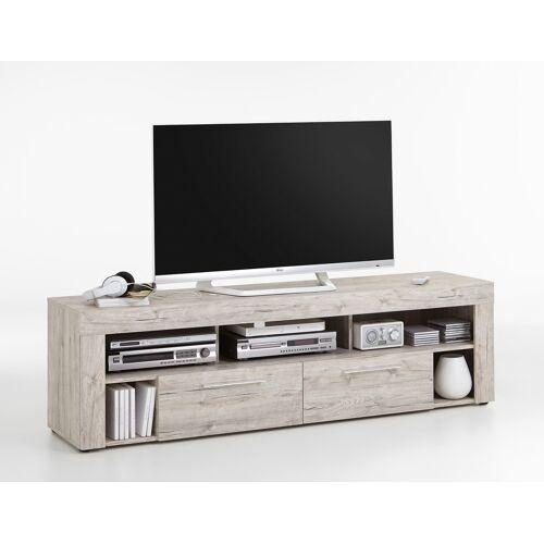 Lifestyle4Living TV-Lowboard TV-Board Multimedia Lowboard in Sandeiche-Nachbildung mit 5 Fächern und 2 Schubkästen, Maße: B/H/T ca. 180/53/41,5 cm