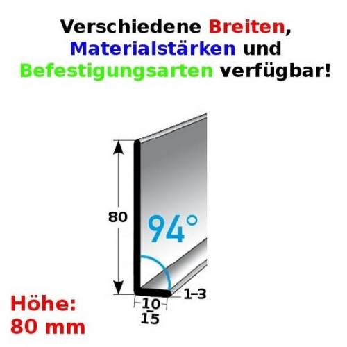 AUER Fußleiste / Sockelleiste (TYP 80) aus Edelstahl, Höhe: 80 mm,...