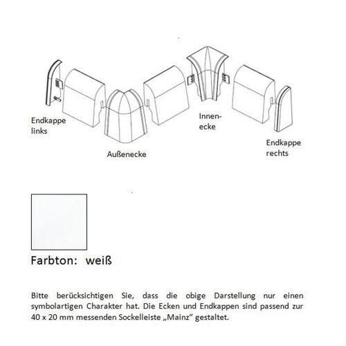 Südbrock Aussenecke für MDF-Sockelleisten 40x20 mm - weiß