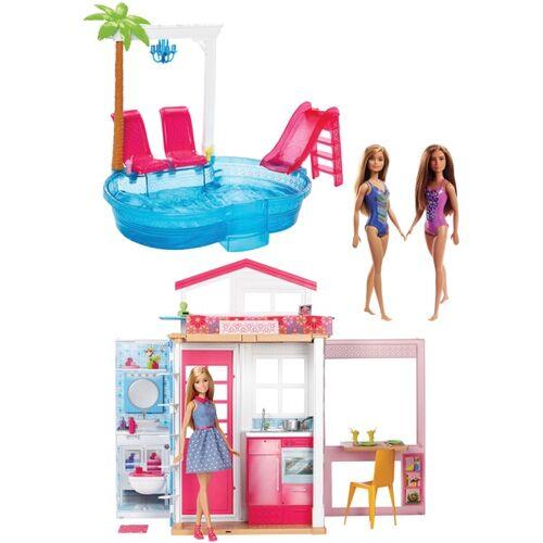 Barbie - Haus mit Pool + 3 Puppen