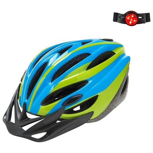 Grün-blauer Fahrradhelm mit Reflektor, 50-52 cm