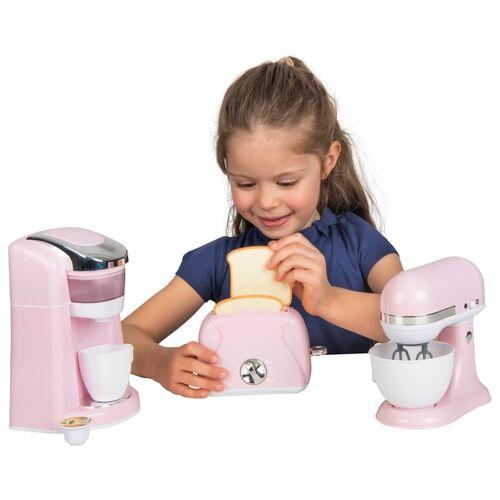 Kinder Spiel Küchengeräte, 3-tlg. mit Kaffeemaschine, Tasse, Mixer, Toaster, rosa