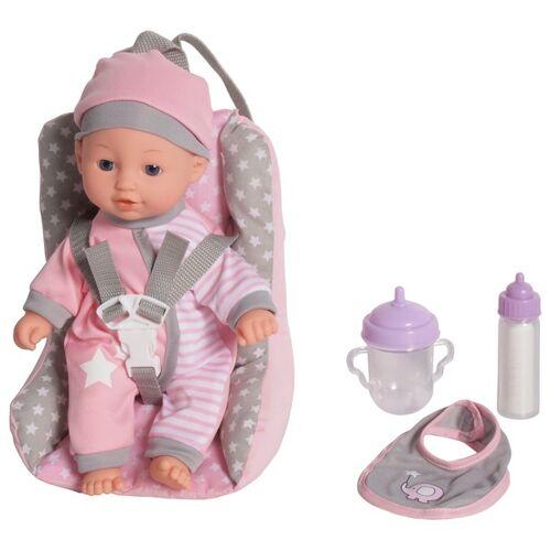 Puppe mit Zubehör und Kindersitz