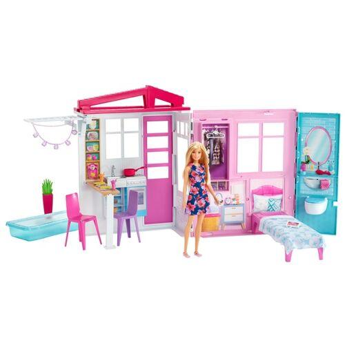 Mattel Barbie Ferienhaus mit Mobeln und Puppe