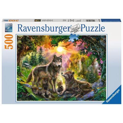 Ravensburger Puzzle: Wolfsfamilie im Sonnenschein, 500 Teile