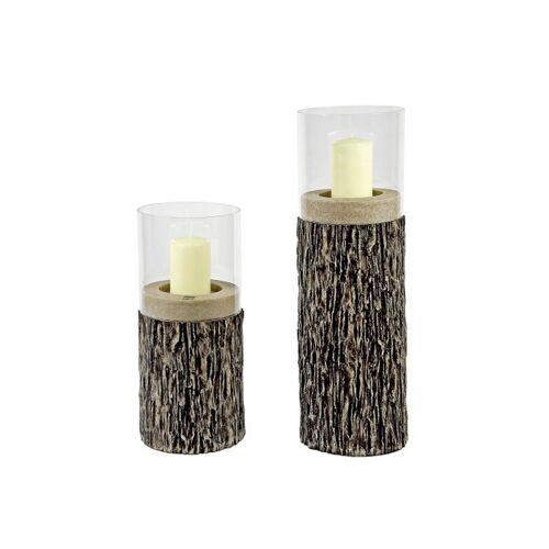 """EK Windlichter ohne Henkel Herbst Holz-Windlicht """"Wooden style""""  groß (braun)"""