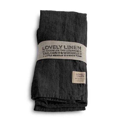 Lovely Linen Servietten & -ringe Lovely Serviette Leinen dark grey (1Stück) (grau)