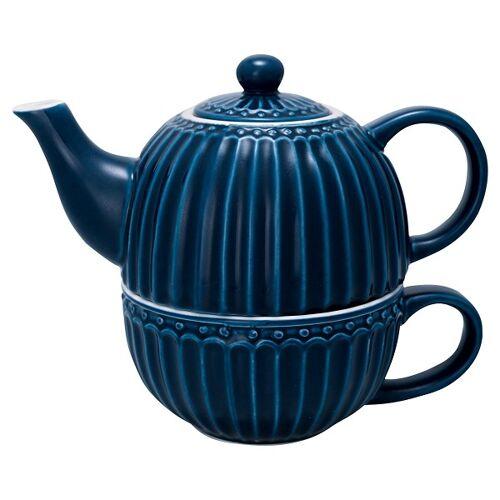 Greengate Alice Alice Teekanne mit Tasse dark blue 15 cm (blau)
