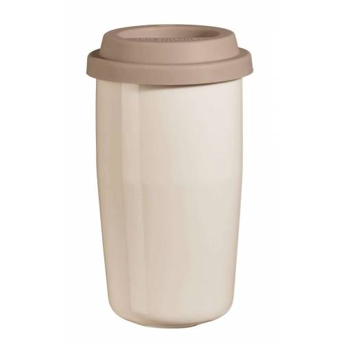 ASA THERMO cup & go Thermobecher creme Deckel braun 0,35 l