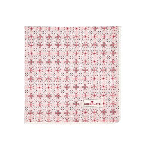 Greengate Servietten & -ringe Harper Stoffserviette pale pink mit Spitze 40x40cm (rosa)