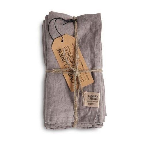 Lovely Linen Servietten & -ringe Misty Serviette Leinen grey (1Stück) (grau)