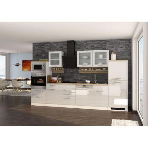 Küchenblock 340 inkl E-Geräte von PKM Geschirrspüler Induktion autark (6 tlg) MAILAND von Held Möbel Weiss / Eiche Sonoma