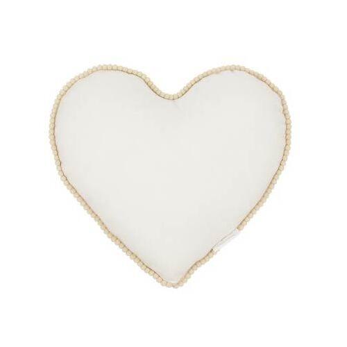 Cotton & Sweets Kissen Herz Boho Creme mit Pompons