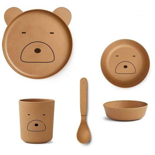 Liewood Bambus Kindergeschirr Set - Mr Bear mustard