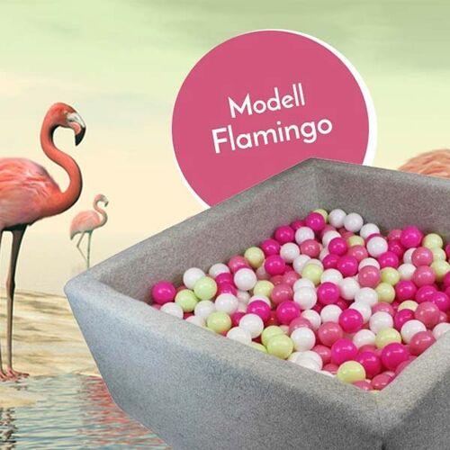 meinbaellebad.de Bällebad Flamingo Grau quadratisch