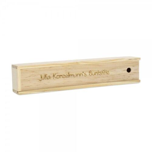 stempel-fabrik.de Holzbox mit 12 Buntstiften (Gravurmaß 10x1,3 cm / 0,8x0,05 cm)