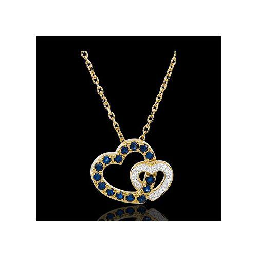 Edenly Collier Doppeltes Herz - Saphir und Diamant