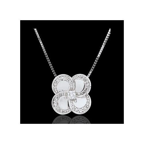Edenly Collier Blüte - Weißer Klee - Gold und Diamanten