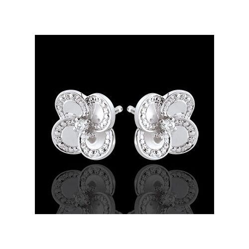 Edenly Ohrringe Blüte - Weißer Klee - Gold und Diamanten