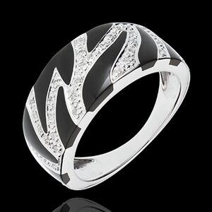 Edenly Ring Wildkatze - Schwarzer Lack und Diamanten