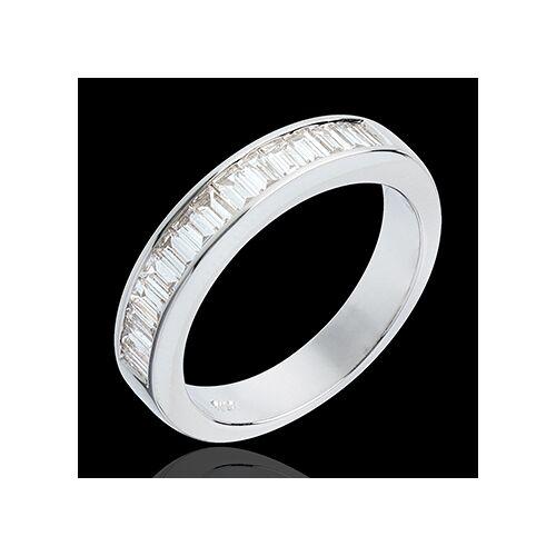 Edenly Trauring zur Hälfte mit Diamanten besetzt in Weissgold - 075 Karat