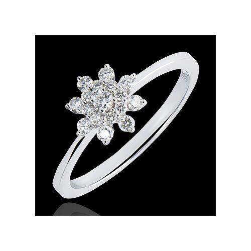 Edenly Ring Frische - Bergblume - 9 Karat Weißgold und Diamanten