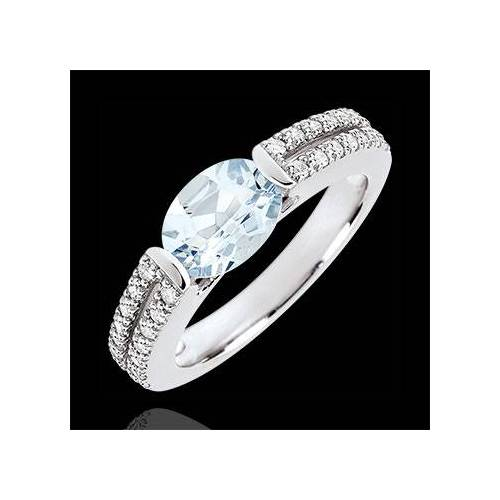 Edenly Verlobungsring Triumph - 1.2 Karat Aquamarin und Diamanten - 18 Karat We