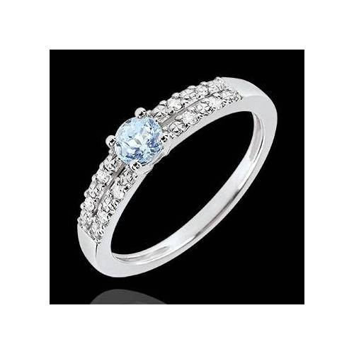Edenly Verlobungsring Margot - 0.23 Karat Aquamarin und Diamanten - 18 Karat We