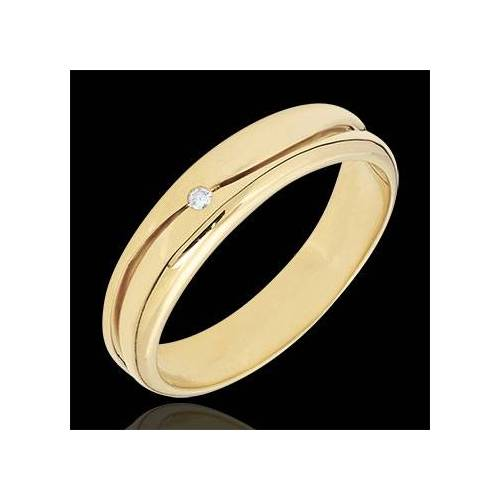 Edenly Ring Amour - Herren Trauring in Gelbgold - Diamant 0.022 Karat - 9 Karat