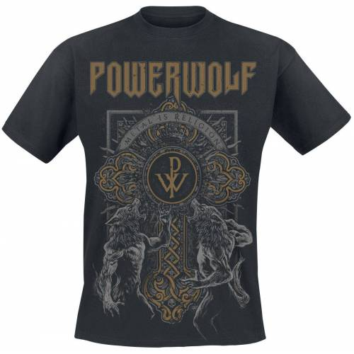 Powerwolf Wolf Cross Herren-T-Shirt  - Offizielles Merchandise schwarz