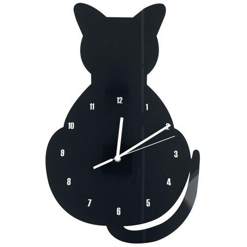 Acryl - Wanduhr Katze Wanduhr-schwarz