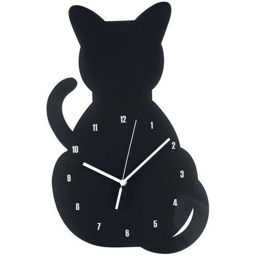 Acryl - Wanduhr Katze Wanduhr-schwarz schwarz
