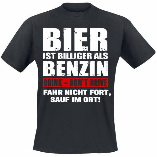 Bier ist billiger als Benzin Herren-T-Shirt schwarz