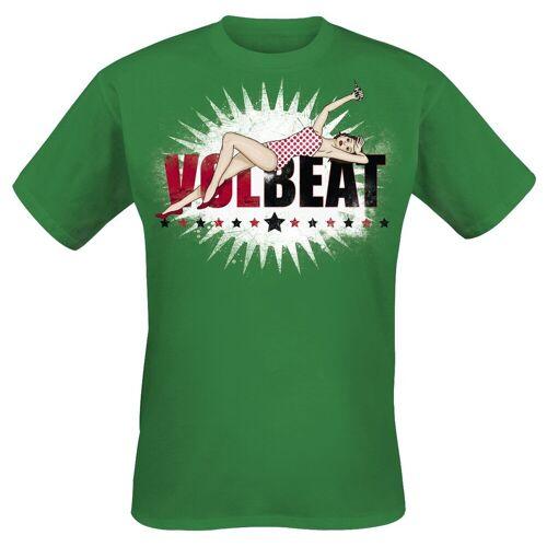 Volbeat Pin Up Logo Herren-T-Shirt  - Offizielles Merchandise grün