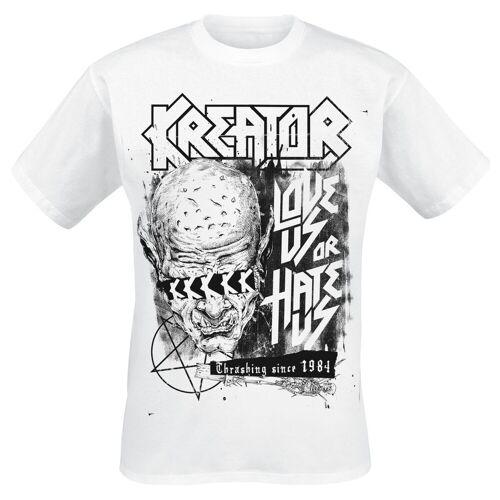 Kreator Love Us Or Hate Us Herren-T-Shirt  - Offizielles Merchandise weiß
