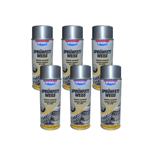 Froeschl Autozubehoer 6x Presto Sprühfett weiß Schmierfett Schmiermittel Fettspray Spray