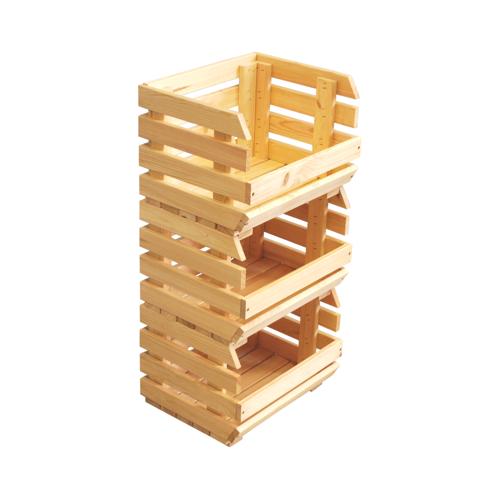 84 x 36 x 30 cm 3 Holzkisten gestapelte Stiegen Obststiege Obstkiste