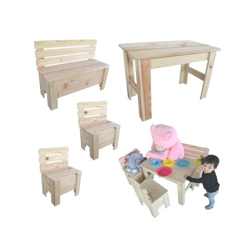 Kinderstuhl Kindertisch Kinderbank Sitzgruppe Tisch Stuhl Bank Holz
